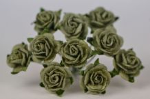 1.5cm PALE OLIVE GREEN Mulberry Paper Roses